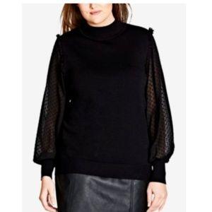 City Chic Women Plus Sz 18 Black Sleeve Sweater